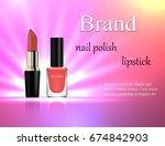 cosmetics  gentle pink nail... | Shutterstock .eps vector #674842903