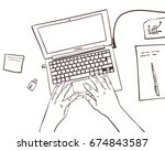 vector sketch of working place... | Shutterstock .eps vector #674843587