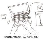 vector sketch of working place... | Shutterstock .eps vector #674843587