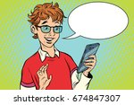 teenager talking on the phone ... | Shutterstock . vector #674847307