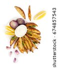 Small photo of Baked potatoes and onion with rosemary, garlic and aioli sauce on a white background.