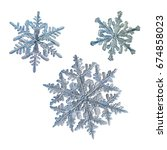 set with three snowflakes... | Shutterstock . vector #674858023