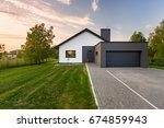 simple and modern house with... | Shutterstock . vector #674859943
