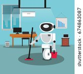 domestic robot cleaning office... | Shutterstock .eps vector #674863087