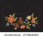 embroidery ethnic neck line... | Shutterstock .eps vector #674866063