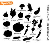 vegetables silhouettes. it can... | Shutterstock .eps vector #674874583