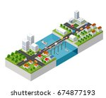 the bridge skyway of urban... | Shutterstock .eps vector #674877193