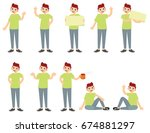 set of a guy with dark haired... | Shutterstock .eps vector #674881297