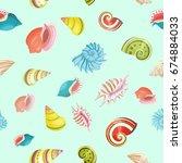 seashells seamless  pattern. | Shutterstock . vector #674884033