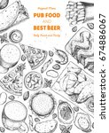 pub food frame vector... | Shutterstock .eps vector #674886067