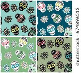 seamless pattern set with... | Shutterstock .eps vector #674896513