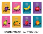 avocado  lemon  watermelon ... | Shutterstock .eps vector #674909257