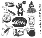 Hand Drawn Camping Set.  Camp...
