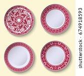 set of ornamental porcelain... | Shutterstock . vector #674918593