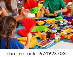 school children with scissors... | Shutterstock . vector #674928703