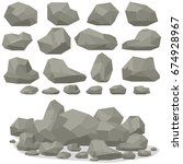 rock stone cartoon in isometric ... | Shutterstock .eps vector #674928967