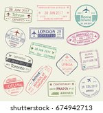 passport stamp of travel visa... | Shutterstock .eps vector #674942713