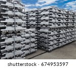 stack of raw aluminium ingots... | Shutterstock . vector #674953597