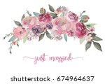 watercolor floral illustration  ... | Shutterstock . vector #674964637