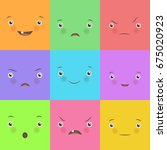 emotion flat set. cute square... | Shutterstock .eps vector #675020923