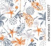 nautical seamless pattern. hand ... | Shutterstock .eps vector #675032077