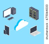 cloud storage and electronic... | Shutterstock .eps vector #675064033