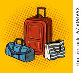 travel bags pop art retro... | Shutterstock .eps vector #675064693