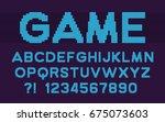 pixel retro font video computer ... | Shutterstock .eps vector #675073603
