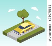taxi car on road isometric... | Shutterstock . vector #675075553