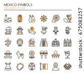 mexico symbols   thin line and...