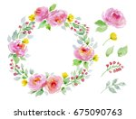 painted watercolor floral set... | Shutterstock . vector #675090763