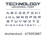 technology font. geometric ... | Shutterstock .eps vector #675092887