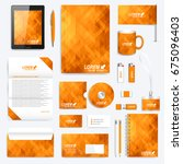 orange set of vector corporate... | Shutterstock .eps vector #675096403