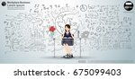 workplace business lady   ... | Shutterstock .eps vector #675099403