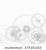 drawing gears on a white... | Shutterstock . vector #675101263