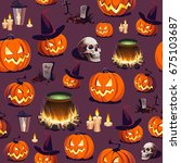 seamless halloween pattern with ... | Shutterstock .eps vector #675103687