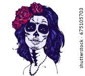 sugar girl santa muerte woman... | Shutterstock .eps vector #675105703