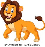 Cartoon Happy Lion Isolated On...
