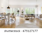 spacious white living room with ... | Shutterstock . vector #675127177