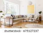 modern interior of spacious... | Shutterstock . vector #675127237