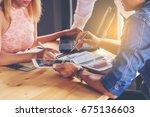 business people meeting design... | Shutterstock . vector #675136603
