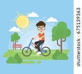 boy in park. | Shutterstock . vector #675139363