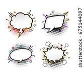 comic empty speech bubbles on... | Shutterstock .eps vector #675144097