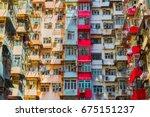old apartment in hong kong... | Shutterstock . vector #675151237