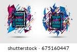 futuristic frame art design... | Shutterstock . vector #675160447