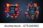 futuristic frame art design... | Shutterstock . vector #675160483
