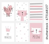 cute planner  cards and... | Shutterstock .eps vector #675168157