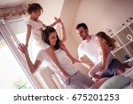 family spending free time at... | Shutterstock . vector #675201253