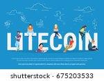 litecoin concept vector... | Shutterstock .eps vector #675203533