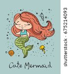 vector summer card with cute... | Shutterstock .eps vector #675214093